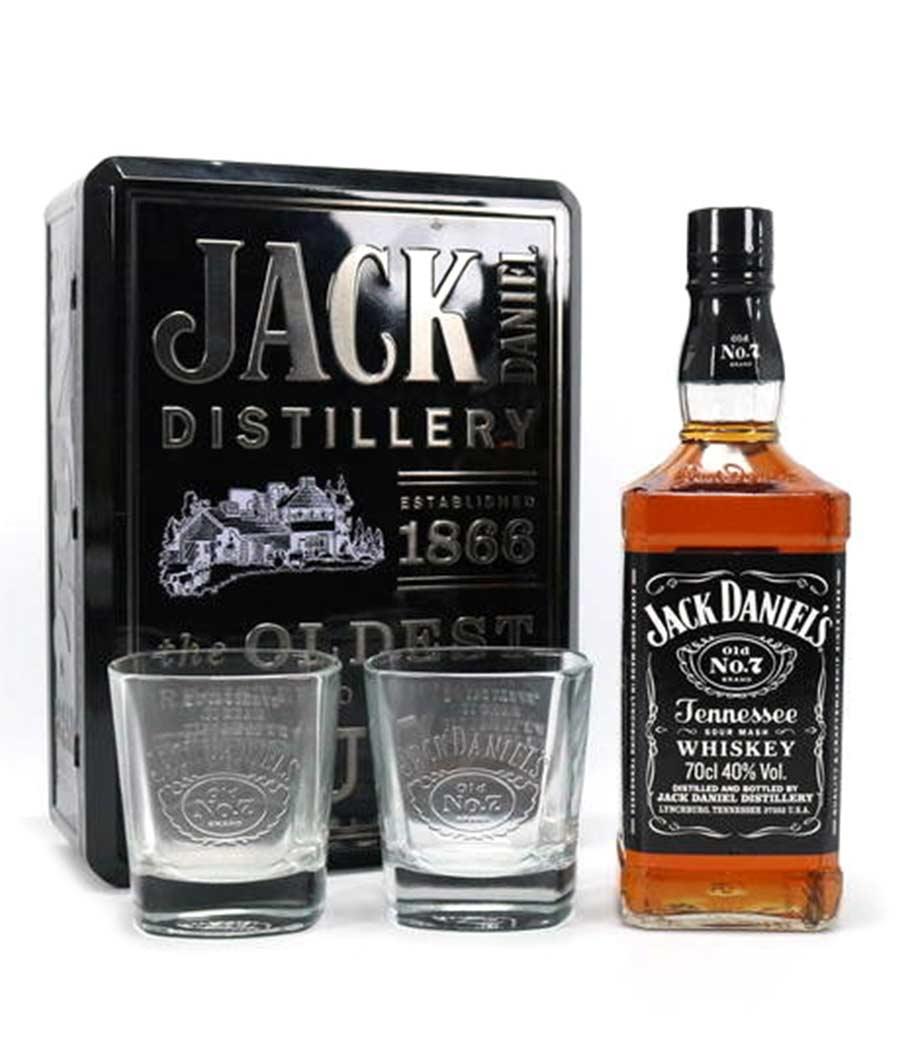 JACK DANIELS WHISKEY 700ml GIFT PACK ΜΕ 2 ΣΥΛΛΕΚΤΙΚΑ ΠΟΤΗΡΙΑ